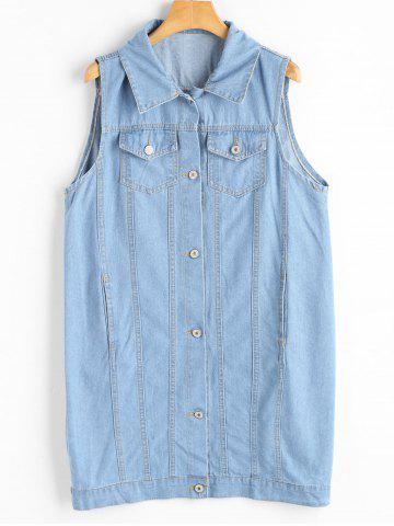 Trendy Plus Size Long Light Wash Denim Vest Jacket