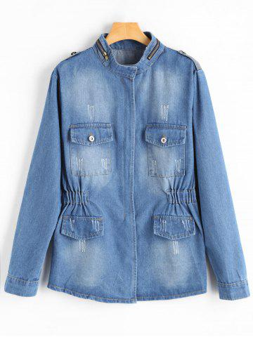 Zip Up Blend Wash Plus Size Denim Jacket Denim Bleu 4XL