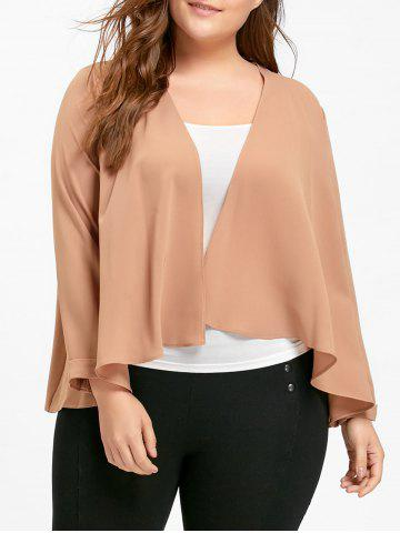 New Chiffon Plus Size Waterfall Jacket - XL APRICOT Mobile