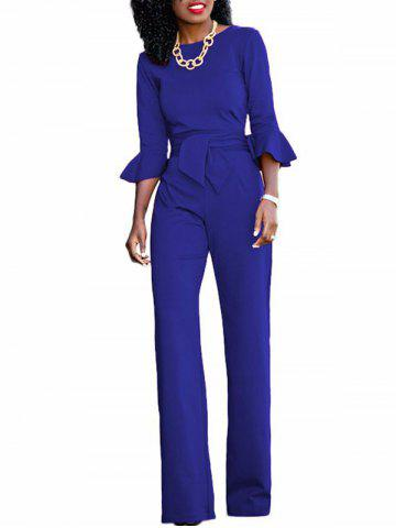 Best Flare Sleeve Waisted Jumpsuit BLUE L