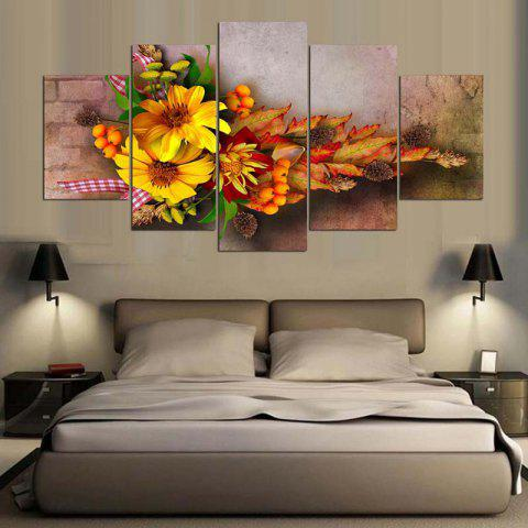 Trendy Flowers Printed Split Wall Art Canvas Paintings