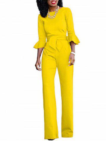 Online Flare Sleeve Waisted Jumpsuit YELLOW S