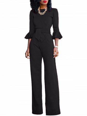 Discount Flare Sleeve Waisted Jumpsuit BLACK S