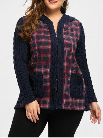 Fancy Plus Size Patch Pocket Checked Hooded Jacket
