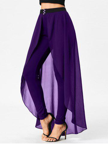 Outfits Slimming High Waist Skirted Pants - M PURPLE Mobile