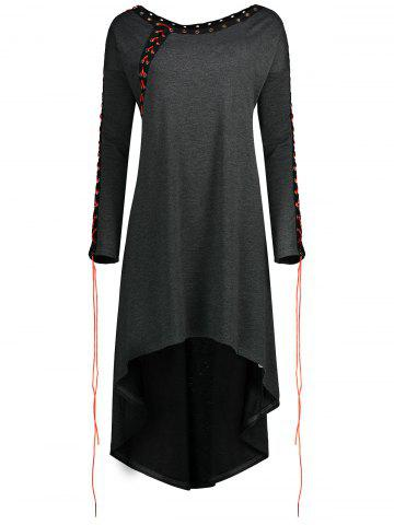 Fashion Asymmetric Plus Size Lace Up Tunic Top - XL DARK GRAY Mobile