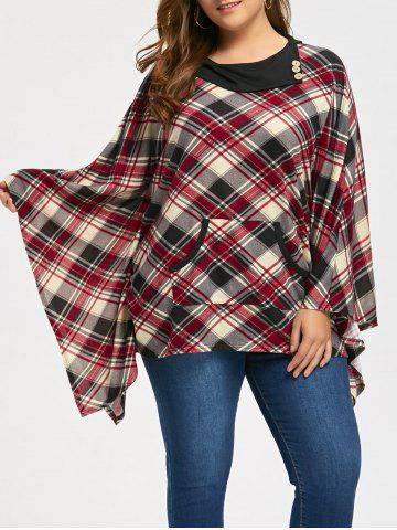 Plaid Kangaroo Pocket Plus Size Cape Top