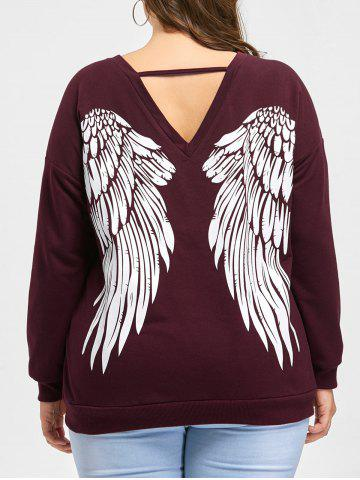 New Plus Size Wings Lace Up Sweatshirt