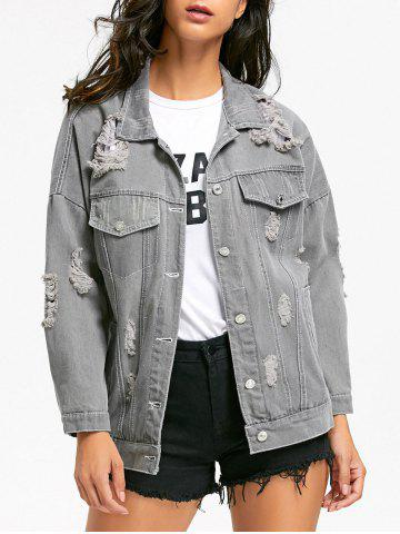 Affordable Stitching Ripped Denim Jacket GRAY M