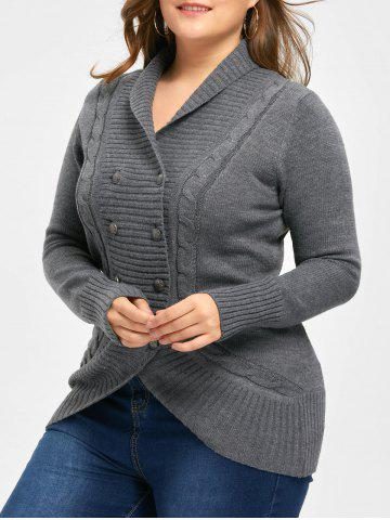Outfits Plus Size Double Breasted Slim Cardigan