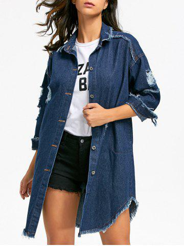 Hot Distressed Frayed Hem Jean Coat - XL DENIM BLUE Mobile
