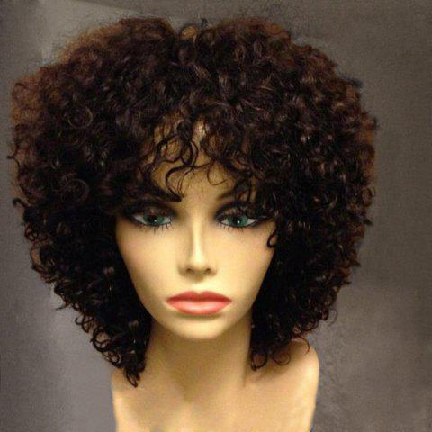 Fashion Short Side Bang Fluffy Afro Curly Synthetic Wig COFFEE