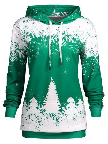 Best Plus Size Christmas Snowflake Tree Pocket Hoodie GREEN 3XL