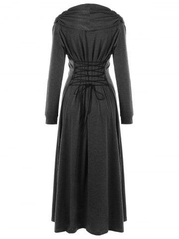 Store Lace Panel Lace Up Maxi Dress - M DEEP GRAY Mobile