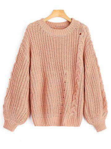 Hot Chunky Cable Knit Sweater CAMEO ONE SIZE
