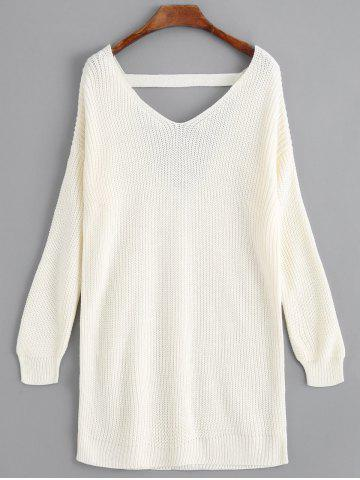 Best Drop Shoulder V Neck Longline Sweater - ONE SIZE OFF-WHITE Mobile