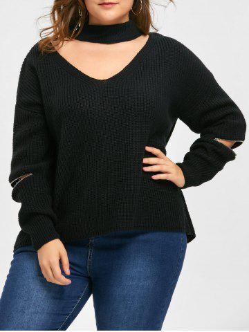 Trendy Plus Size Zip Sleeve Choker V Neck Sweater BLACK XL