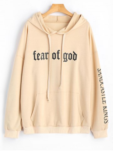 Sale Letter Logo Drawstring Oversized Hoodie APRICOT L