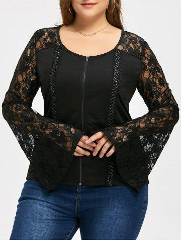 Lattice Plus Size Zip Up Lace Sleeve Veste