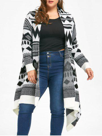 Shops Plus Size Monochrome Geometric Longline Cardigan