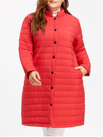 Outfits Button Up Plus Size  Long Textured Padded Coat