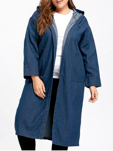 Best Plus Size Long Hooded Denim Coat with Pockets