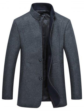 Trendy Grandad Collar Coat with Side Pockets
