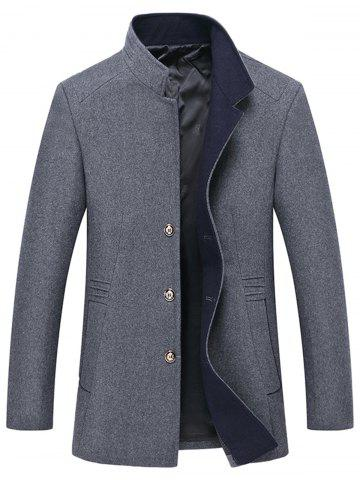 Discount Button Up Mandarin Collar Wool Blend Coat