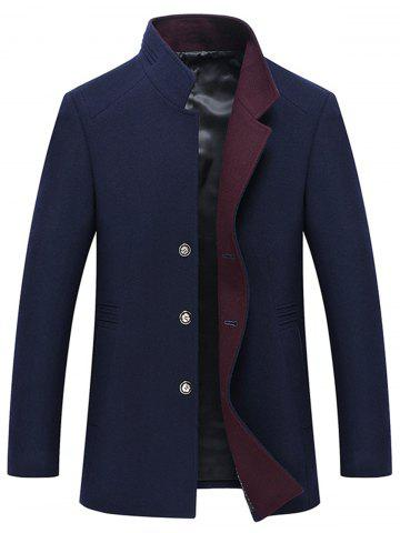 Outfit Button Up Mandarin Collar Wool Blend Coat