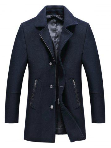 Single Breasted Zip Up Wool Blend Coat