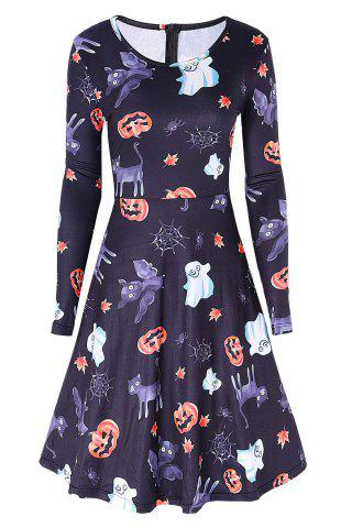 Cheap Halloween Pumpkin Ghost Print Swing Dress