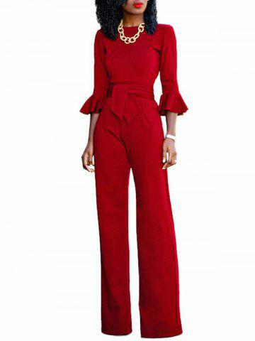 Flare Sleeve Waisted Jumpsuit - RED - S