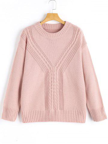 Discount Crew Neck Cable-knit Pullover Sweater