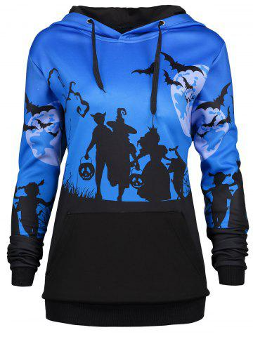 Cheap Plus Size Halloween Bat Moon Print Hoodie with Pocket