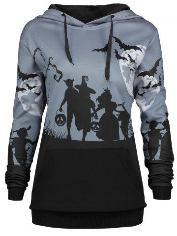 Shop Plus Size Halloween Bat Moon Print Hoodie with Pocket