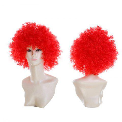 Cheap Short Fluffy Afro Curly Clown Fans Carnival Party Wig