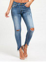 Frayed Slim Fit Ninth Torn Jeans - DENIM BLUE L
