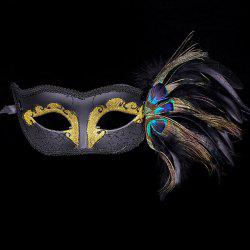 Faux Pearl Embellished Party Feather Masquerade Mask - BLACK