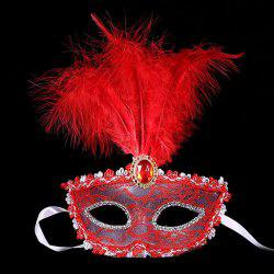 Fake Crystal Embellished Feather Lace Party Mask -