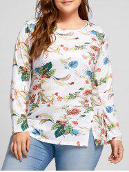 Plus Size Print Long Sleeve Top - WHITE 5XL