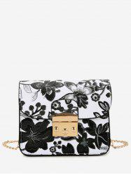 Floral Mini Chain Crossbody Bag - BLACK