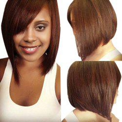Short Inclined Bang Straight Inverted Bob Human Hair Wig -