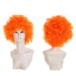 Short Fluffy Afro Curly Clown Fans Carnival Party Wig - PEARL KUMQUAT