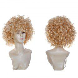 Short Fluffy Afro Curly Clown Fans Carnival Party Wig - Or