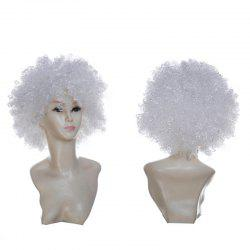 Short Fluffy Afro Curly Clown Fans Carnival Party Wig - Blanc