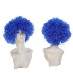 Short Fluffy Afro Curly Clown Fans Carnival Party Wig - ROYAL