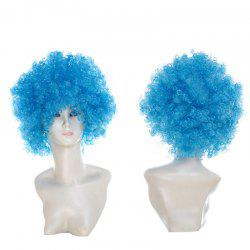 Short Fluffy Afro Curly Clown Fans Carnival Party Wig - WINDSOR BLUE