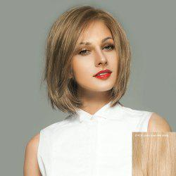 Side Parting Short Straight Bob Lace Front Human Hair Wig - GOLDEN BROWN WITH BLONDE