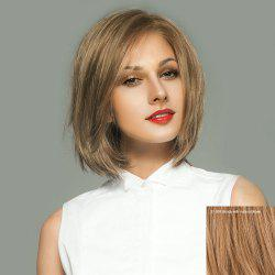 Side Parting Short Straight Bob Lace Front Human Hair Wig -