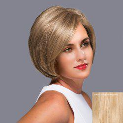 Side Parting Straight Short Bob Lace Front Human Hair Wig - GOLDEN BROWN WITH BLONDE